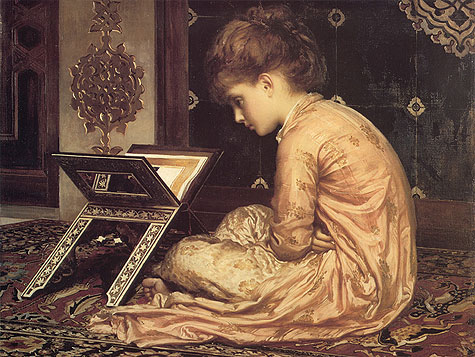 Study at a reading Desk by Lord Frederick Leighton